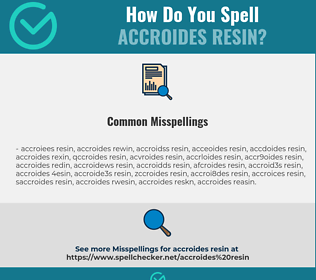 Correct spelling for Accroides Resin
