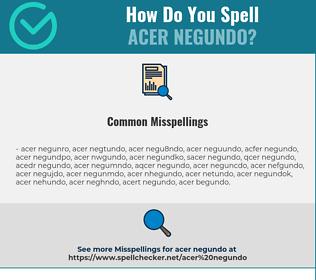 Correct spelling for Acer Negundo