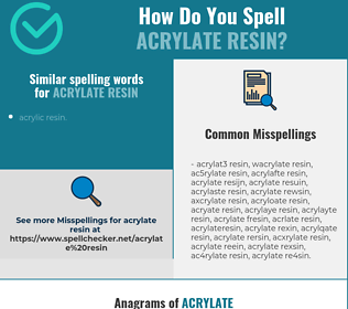 Correct spelling for acrylate resin