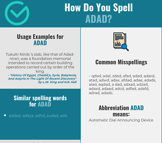 Correct spelling for adad