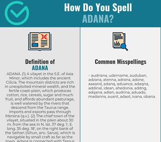 Correct spelling for adana