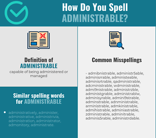 Correct spelling for administrable