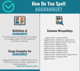 Correct spelling for aggrandize