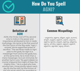 Correct spelling for agni