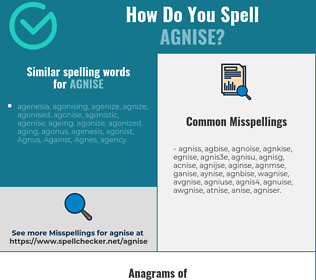 Correct spelling for agnise