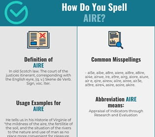 Correct spelling for aire