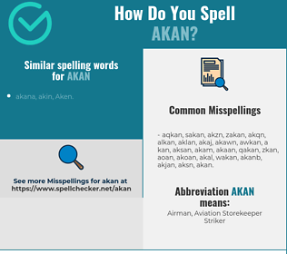 Correct spelling for akan
