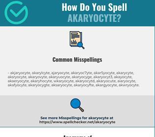 Correct spelling for akaryocyte