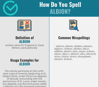 Correct spelling for albion
