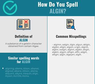 Correct spelling for algin