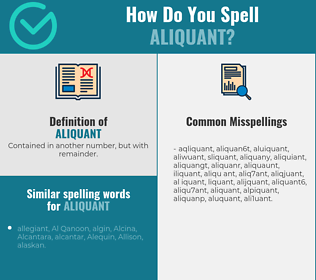 Correct spelling for aliquant