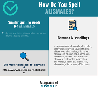 Correct spelling for alismales