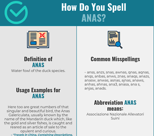 Correct spelling for anas