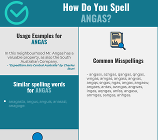 Correct spelling for angas