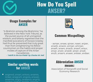 Correct spelling for anser