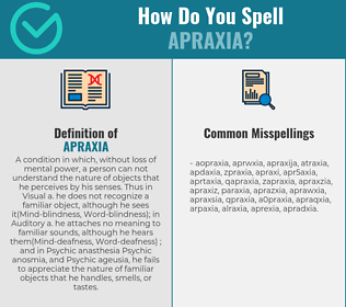 Correct spelling for apraxia
