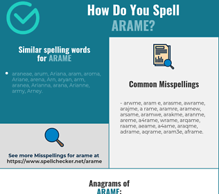 Correct spelling for arame