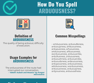 Correct spelling for arduousness