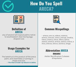 Correct spelling for areca