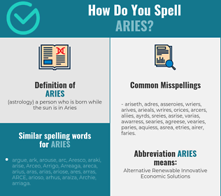 Correct spelling for aries