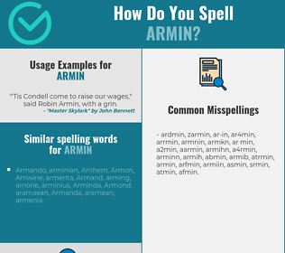 Correct spelling for armin