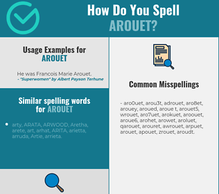 Correct spelling for arouet