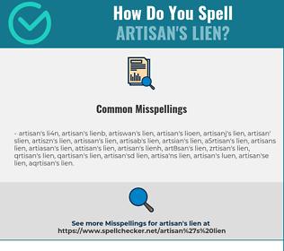 Correct spelling for artisan's lien