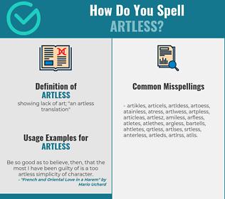 Correct spelling for artless