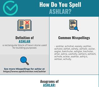 Correct spelling for ashlar