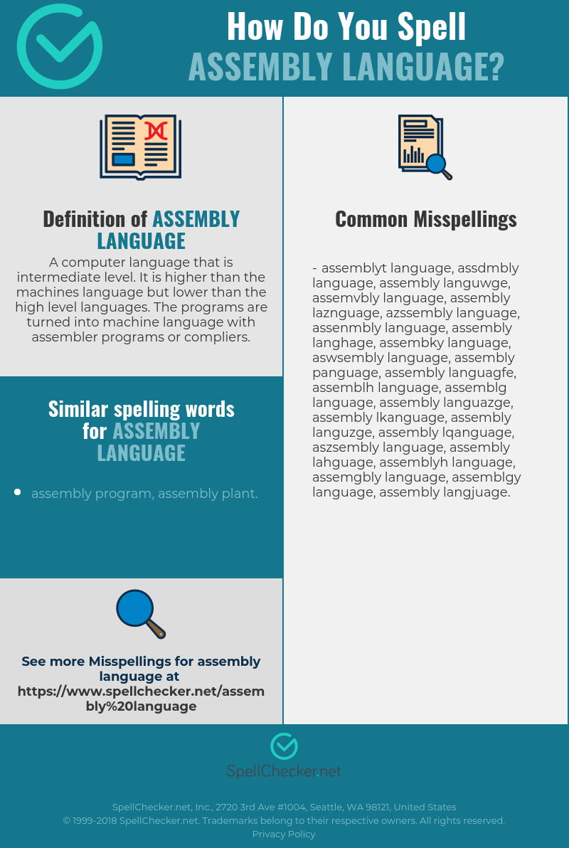 Correct spelling for assembly language [Infographic