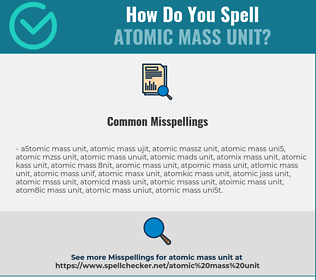 Correct spelling for atomic mass unit [Infographic