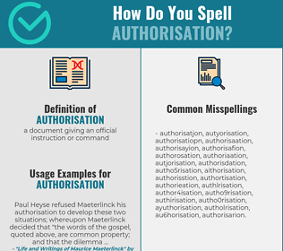 Correct spelling for authorisation