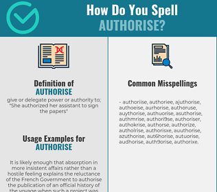 Correct spelling for authorise