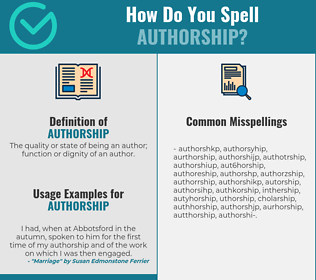 Correct spelling for authorship