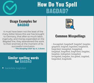 Correct spelling for bagdad