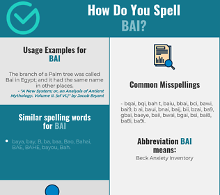 Correct spelling for bai