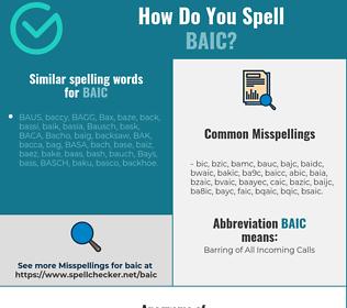 Correct spelling for baic