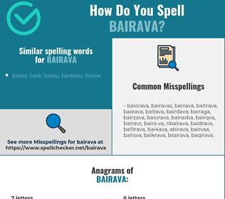 Correct spelling for bairava