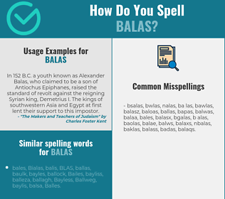 Correct spelling for balas