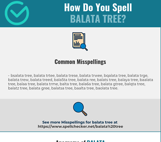 Correct spelling for balata tree