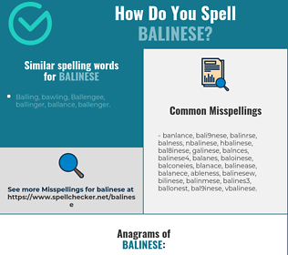 Correct spelling for balinese