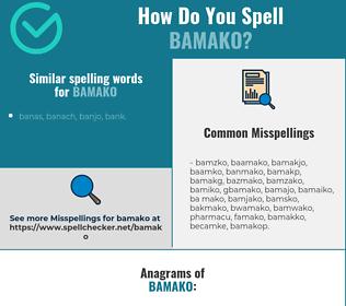 Correct spelling for bamako