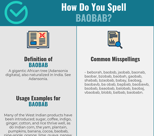 Correct spelling for baobab