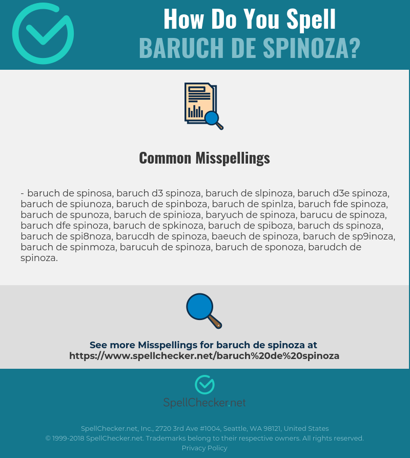 Correct Spelling For Baruch De Spinoza Infographic