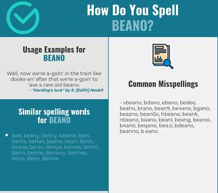 Correct spelling for beano