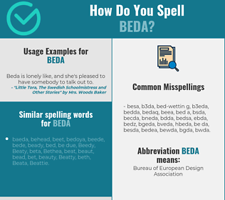 Correct spelling for beda