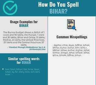 Correct spelling for bihar