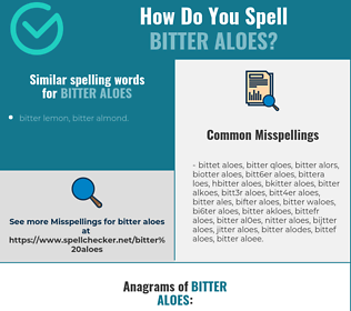 Correct spelling for bitter aloes