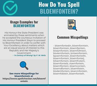Correct spelling for bloemfontein