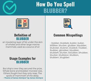 Correct spelling for blubber